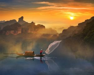 Fishing During Sunrise by Hong Wai Victor Cheng ARPS
